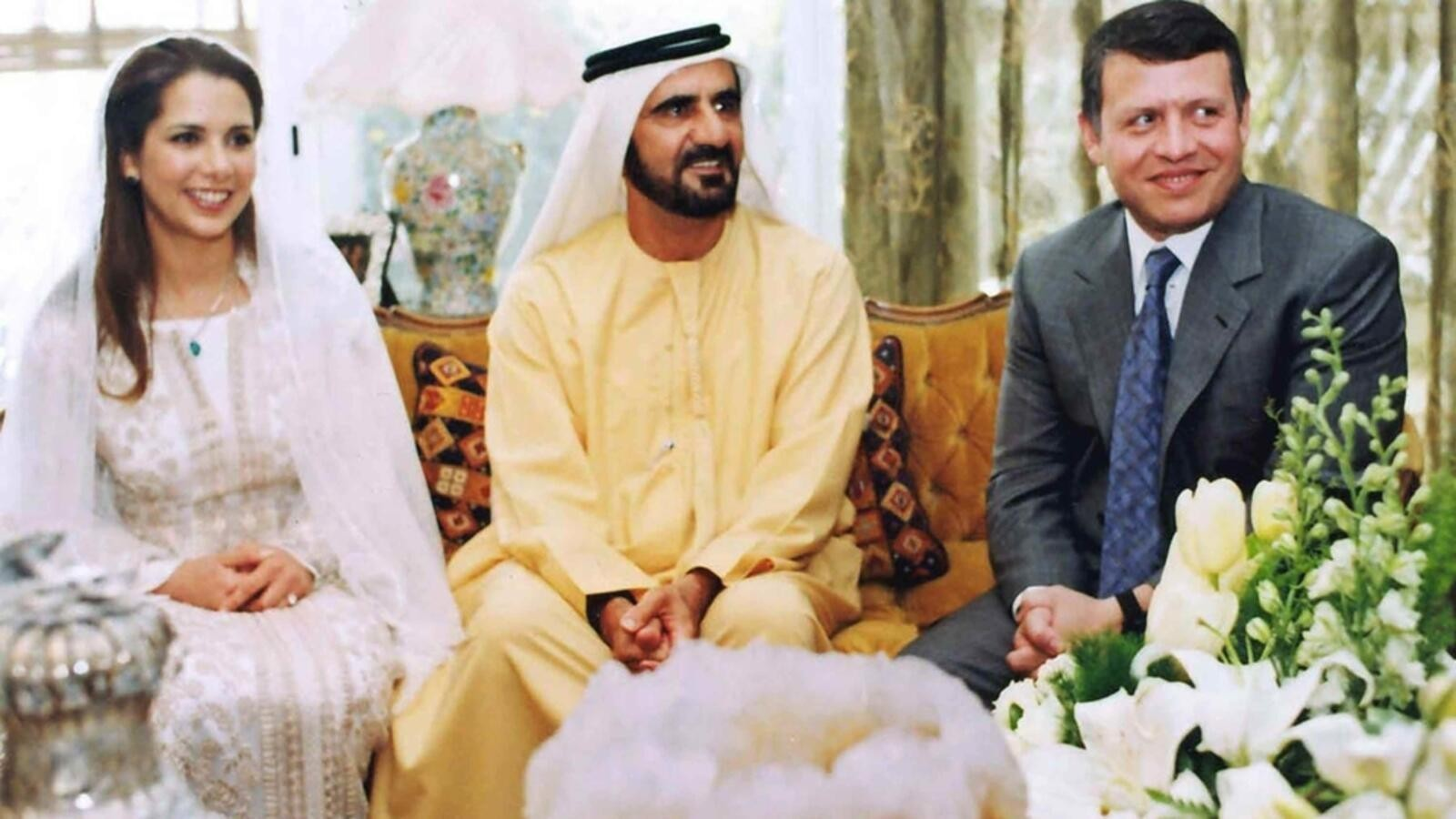 زواج الاميرة هيا بنت الحسين من محمد بن راشد حاكم دبي برفقة أخاها ملك الأردن الملك عبد بن الحسين